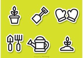 Gardening Outline Sticker Vectors