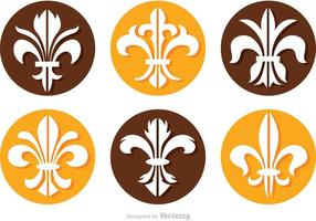 Fleur De Lis Círculo Icons Vectores