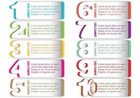 Vectores numerados de cuadro de texto
