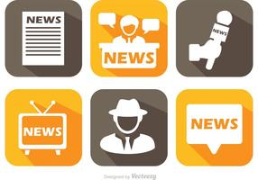 News Media Long Shadow Icons Vector