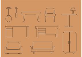 Gratis vektor möbler och hemtillbehör