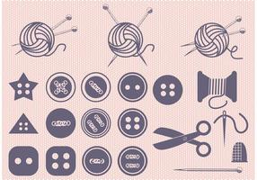 Set of Ball of Yarn and Sewing Vectors