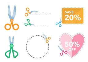 Scissors Coupon Vector Set