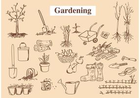 Mano dibujados vectores de herramientas de jardín