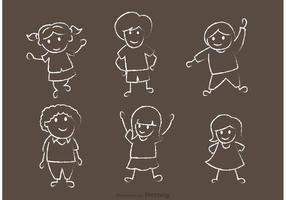 Happy Kids Tiza Dibujado Vector Pack