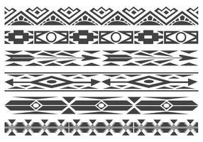 Monochrome Native American Pattern Vector Borders