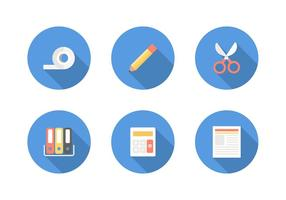 Kostenlose Flat Office Supply Vector Icons