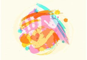 Gratis Barn Handprint På Akvarell Vector Bakgrund