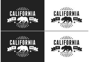 Libre de California Bear Vector Retro Logo