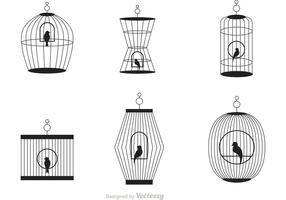 Vector de la jaula de pájaro negro del vintage