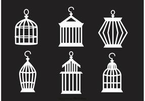 Set Of Vintage Bird Cage Vector