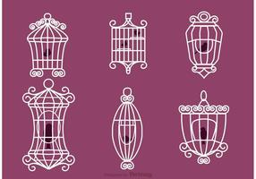 Vintage Bird Cage Vectors with Birds