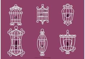 Vettori di gabbia per uccelli d'epoca con uccelli