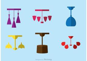 Modern Chandelier Flat Icons Vector