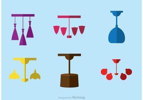 Moderna lámpara plana iconos Vector