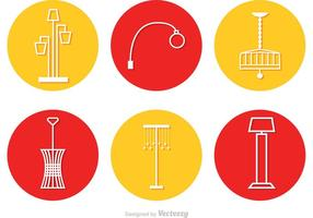 Modern Chandelier Circle Icons Vector