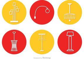 Vettore moderno delle icone del cerchio del lampadario a bracci