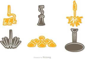 Modern Chandelier Sticker Icons Vector