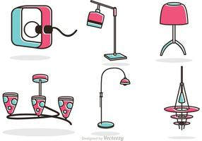 Retro Modern Chandelier and Lamp Vectors