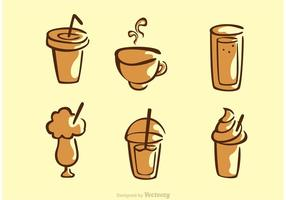 Set Van Koffie Drank Vector
