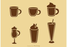 Vetores da silhueta da bebida do café