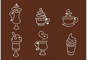 Café Contorno Iconos Vector