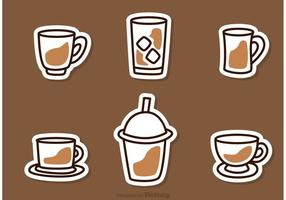 Icônes simples de vecteur de café
