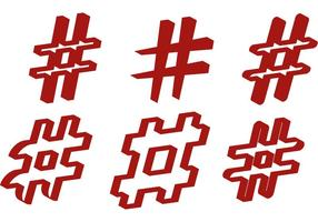 Blocky Hashtag-vektorer