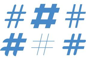 Blauwe Hashtag Vectoren
