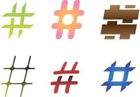 6 freie Hashtag-Vektoren