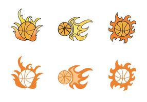 Free Basketball auf Feuer Vektor-Serie