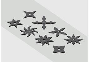 Ninja Kasta Star Ikon Vektorer