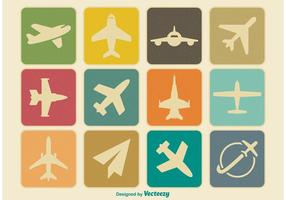Vintage Flugzeug Icon Set