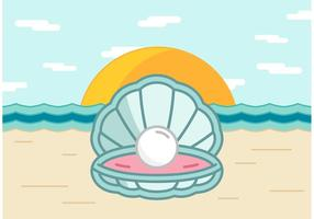 Shell de perlas en el vector de playa
