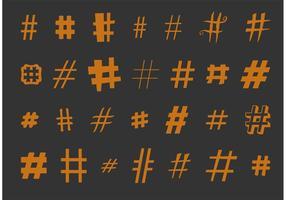 Verschiedene Hashtag Vektoren Set
