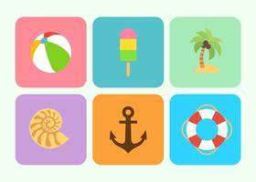 Verano y playa plana iconos vectores