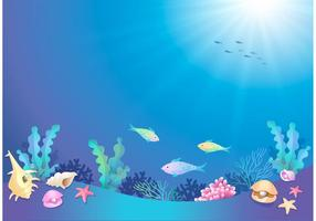 Vector Cartoon Underwater World gratuito