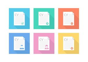 Iconos libres del vector del curriculum vitae del plano plano