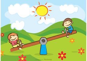 Kinder Reiten auf See Saw Vector