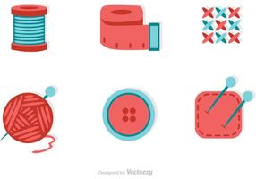 Sewing And Needlework Flat Icons Vector