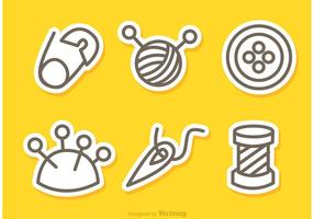 Sewing e Needlework Outline Icons Vetores