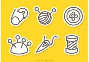 Costura y costura de la costura iconos vectores