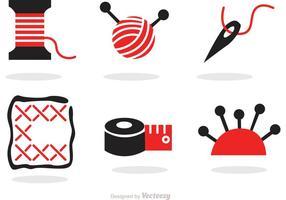 Sy och nålverk Svart och rött ikoner vektor