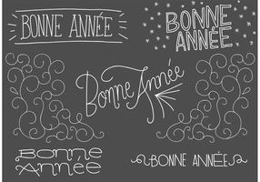 Chalk Drawn Bonne Annee Free Vector