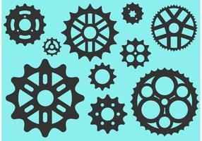 Bicicleta Sprocket siluetas vectoriales gratis