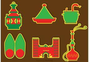 Marocko Kultur Ikoner Vektorer