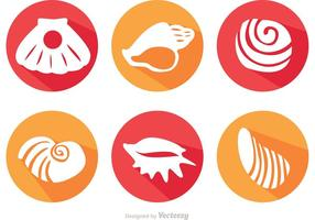 Long Shadow Sea Shell Vector Icons