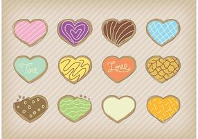 Vetores de cookies do coração