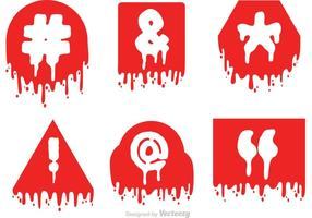 Hashtag Sosial Media Símbolo de goteo de iconos rojos Vector