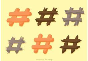 Hashtag plana iconos vectores